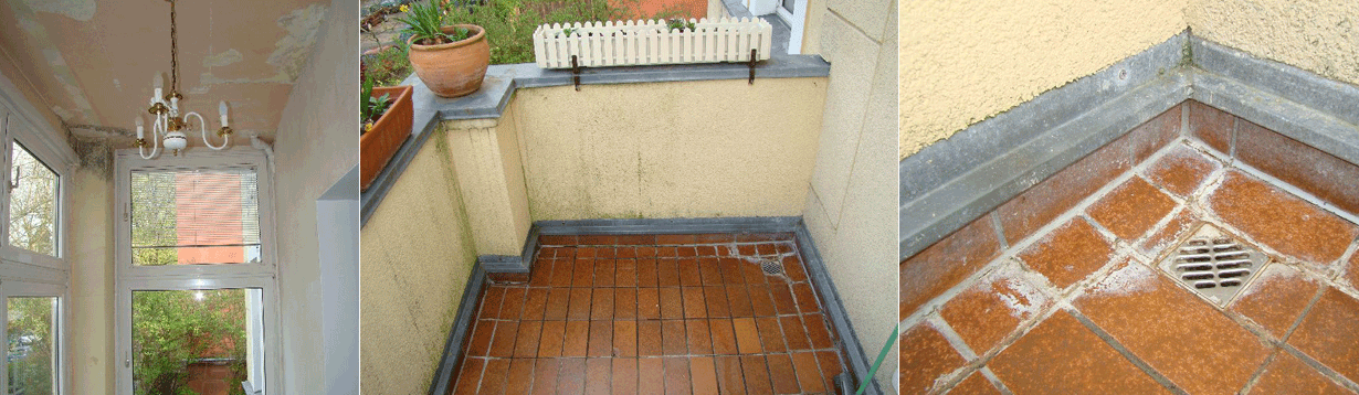 Mietwohng. im typischen Berliner Altbau, Schimmelbefall unter einer Dachterrasse
